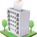 urne de vote en forme d'immeuble