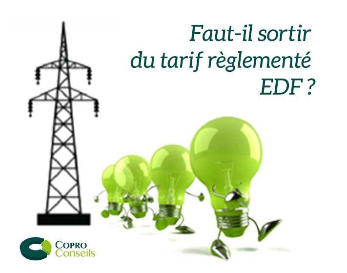 ampoules vertes quittant un pylone faut-il quitter le tarif règlementé d'EDF logo CoproConseils